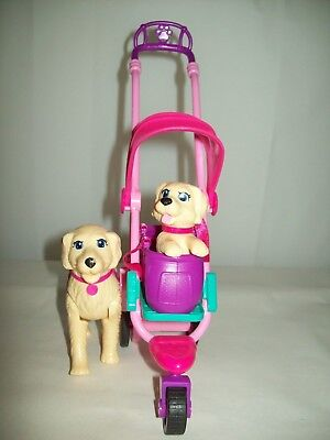 Mattel Barbie Strollin Pups Dog Stroller 2 Dogs and Accessories Barbie & Friends