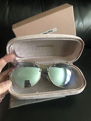 "Miu Miu ""Scenique"" Oval Sunglasses SMU56RS 65mm Gold Gray Mirrored Lenses $550"