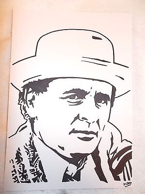 A4 Black Ink Marker Pen Sketch Actor Sylvester McCoy as The Seventh Doctor