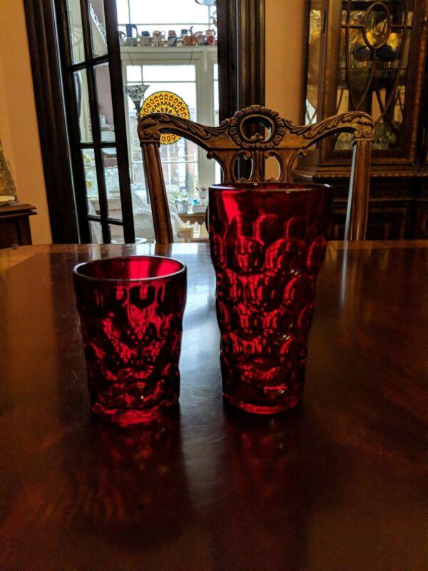 set 16 Imperial Glass Ohio PROVINCIAL DARK RUBY Tumblers DOF rocks highball