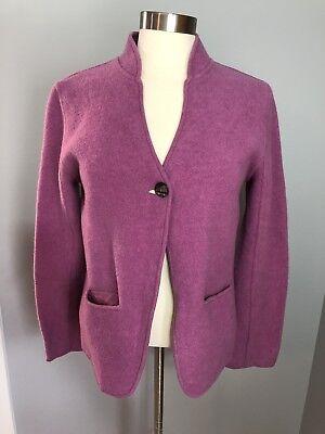 (Eileen Fisher Cardigan Jacket Wool Blend Single Button Lilac Purple Career SZ M)
