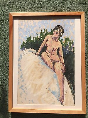 Oil on paper palette  painting Female nude
