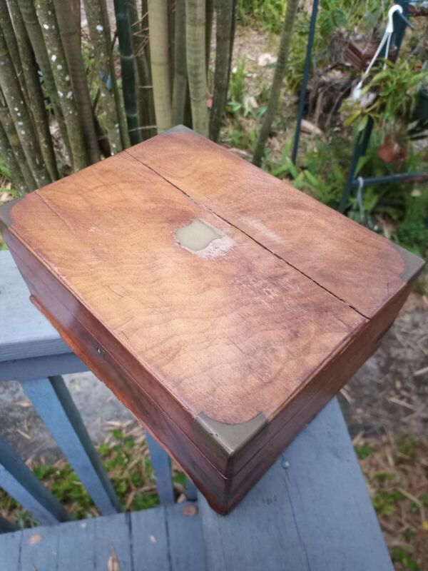 Antique Victorian Lap Desk With Brass Accents ink well 1800- 1880