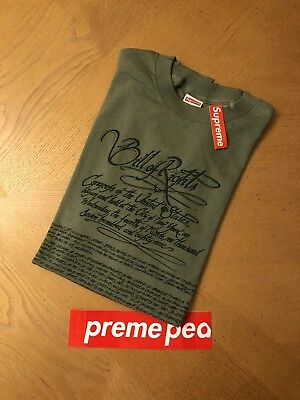 Supreme Bill Of Rights Tee Olive Large 2003 100  Authentic