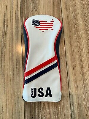 USA Golf Leather Fairway Wood Head Cover - Red/White/Blue