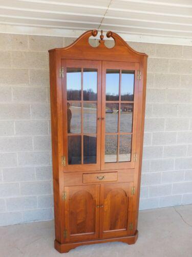 "Vintage Custom Black Walnut 1pc Corner Cabinet Chippendale Style 90""h"