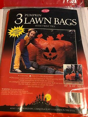 Fun World Giant Pumpkin Head Leaf Bag Halloween Outdoor Lawn decor NOS