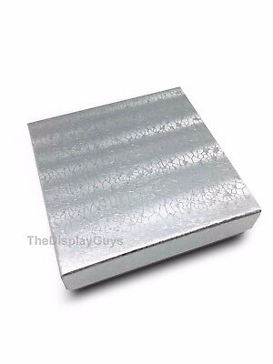 Us Seller100 Pcs 3 12x3 12x1 Silver Cotton Filled Jewelry Gift Boxes