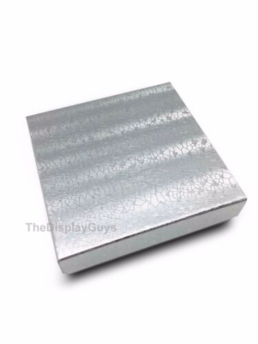 """US Seller~100 pcs 3 1/2""""x3 1/2""""x1"""" Silver Cotton Filled Jewelry Gift Boxes"""