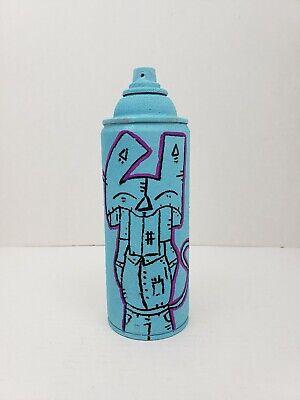 GRAFFITI RUSTY CAT CUSTOM SPRAY PAINT CAN BLUE ORIGINAL RECYCLED ART