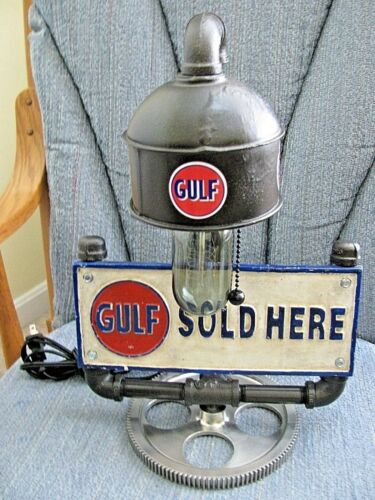 Steam Punk Retro Custom Made GULF OIL TABLE LIGHT Copper Piping Vintage Sign