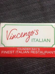 Vincenzo's Italian Matchbook Thunder Bay Windsor Region Ontario image 1