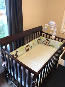 Crib, Serta organic mattress, crib bedding and mobile