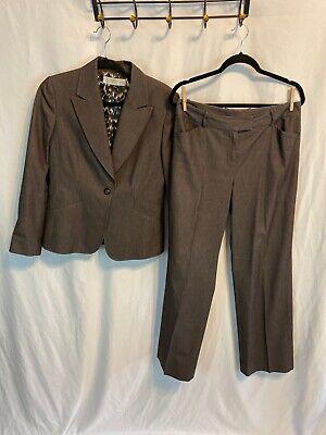 TAHARI ARTHUR S. LEVINE Women's Size 10 Brown Pinstripe  Career Pant Suit