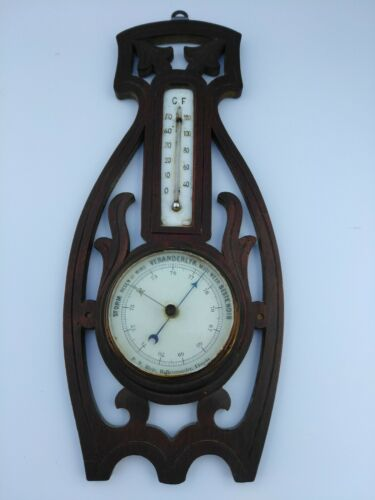 Antique Arts & Crafts era Wall Barometer & Thermometer Carved wood European