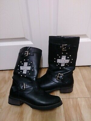 XElement Womens size 7.5 US Motorcycle Boots side zip LU8596 studded bling cross