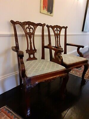 Chippendale style dining arm chair carver with duck blue seat (2 available)