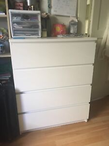 IKEA four-drawer dresser and bedside table