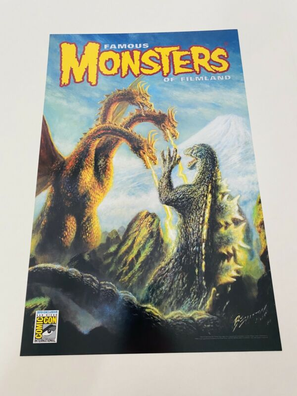 SDCC 2015 Famous Monsters GODZILLA vs Ghidorah Poster Exclusive Cómic Con NEW