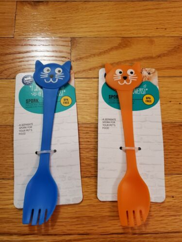 Set of 2 Whisker City Cat Face Spork BPA FREE Spoon Fork for Kitty / Baby Food