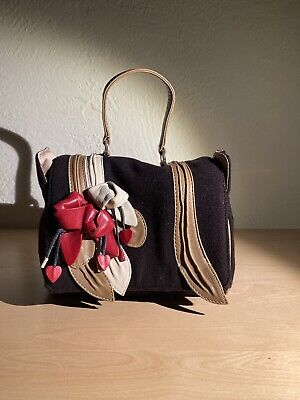 Moschino cheap And Chic Handbag Vintage Leather Flower Appliqué Small Cute Brown