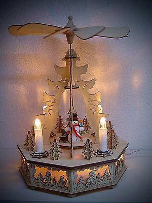 elektrische Pyramide LED Beleuchtet mit Motor Schneemann 30 cm 50062