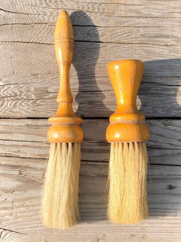 Pair Of Vintage Wood Handled Barber Neck Duster Brushes