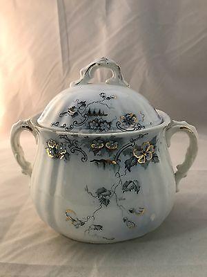 Vintage England OBAN FLOW Alfred Meakin Flowered Sugar Bowl Gold Inlay # 53