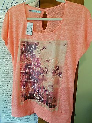 Maurices Electric Apricot Daydreaming Through The Looking Glass Tee Medium NWT