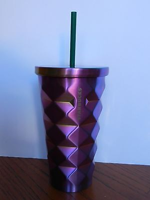 Starbucks 2016 Stainless Steel Gradient Rainbow Studded Cold Cup 16 fl oz