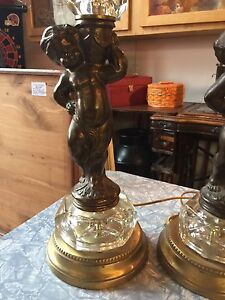 Pair of   Godey Vintage Cherub Table Lamps
