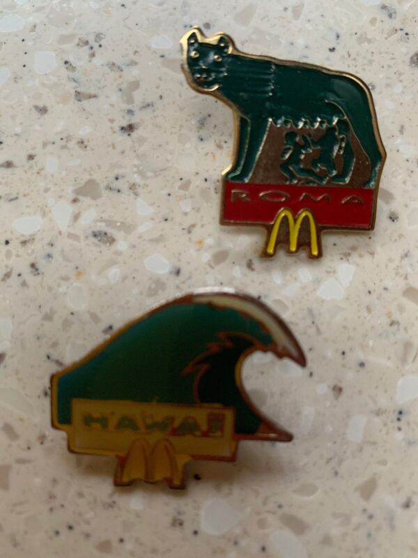 Vintage Enamel McDonalds Pins By French Artist Arthus Bertrand