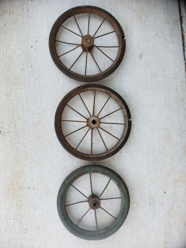 3 Vintage Carriage Wheels