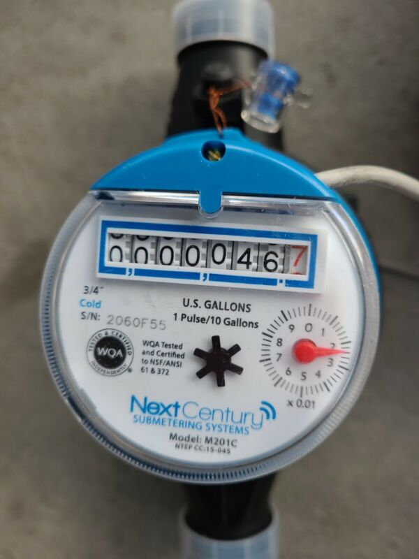 "New 3/4"" NPT Cold Water Meter - Pulse Output Next Century M201C"