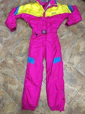 Vtg 80's Nevica Neon Onsie Snow Ski Suit Men's Size 38 Small Coat Snowsuit Pink