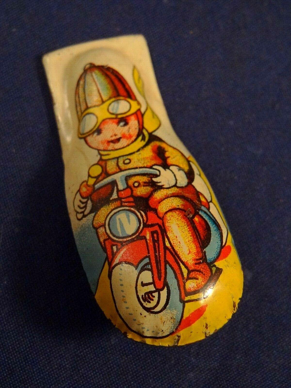 Ancien rare clic clac cri-cri jouet tôle enfant scooter moto 1940-50 us zone