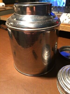 TEA CADDY - Oriental Design ZHEN MENG in stainless steel with inner lid