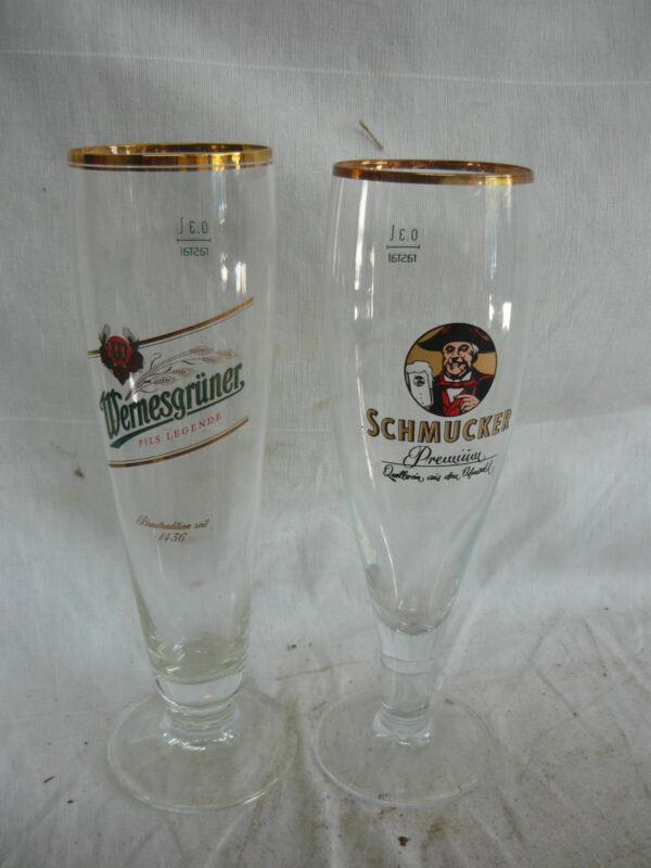 2 BEER GLASSES SCHOONERS SCHMUCKER WERNESGRUNER GERMANY