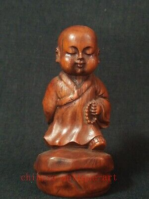 Collection Chinese Boxwood Hand Carved Boy Buddha Statue Family Pray Decoration