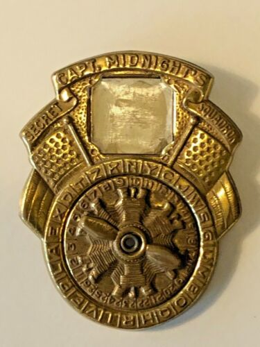 1942 Captain Midnight Photomatic Decoder Brass Badge with pin and original photo