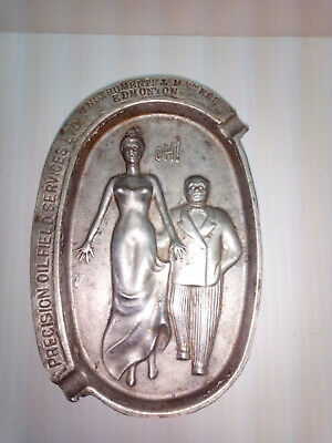 """Vintage Cast Metal Ashtray Risque """"Oh!"""" Double Sided Oil Advertising"""