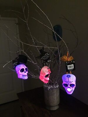 Halloween Day of The Dead Dia De Muertos Sugar Skull LIGHTED Hanging Ornaments - Skull Ornaments