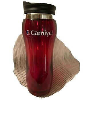 Carnival Cruise Insulated Travel Bottle Red 14oz. Solid Clear Pattern! Preowned