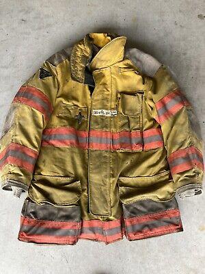 Firefighter Janesville Lion Apparel Turnout Coat 40x32 Inch 2004 Orange Trim