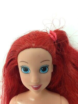 "DISNEY NUDE ARIEL LITTLE MERMAID DOLL 10 1/2"" TALL LONG RED HAIR SIDE PONY TAIL!"