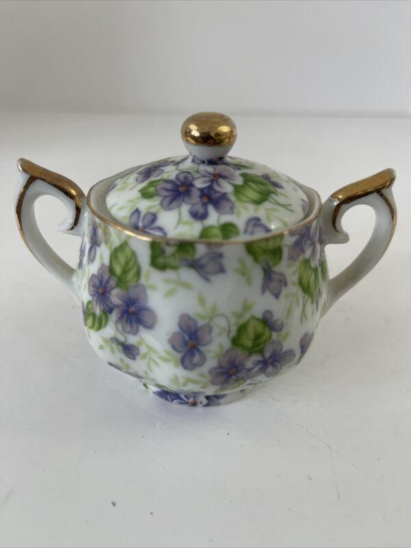 Lefton China Hand painted Violet Chintz Mini Sugar Bowl Gold Trim Lid Handles