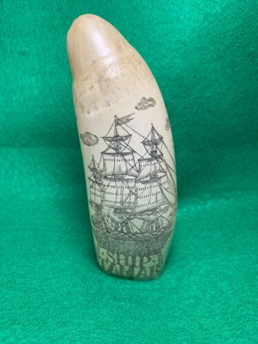 REPRODUCTION SCRIMSHAW WHALE TOOTH 1861 SHIP TAMAR