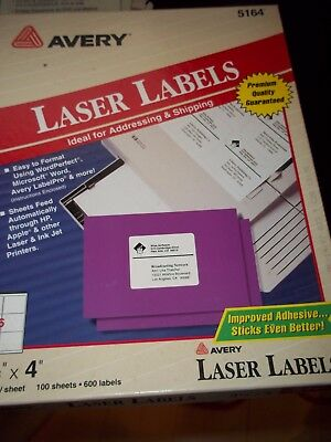 Avery Laser Labels For Shipping 5164 Partial Box 75 Sheets 6 Per Sheet 3-12x4