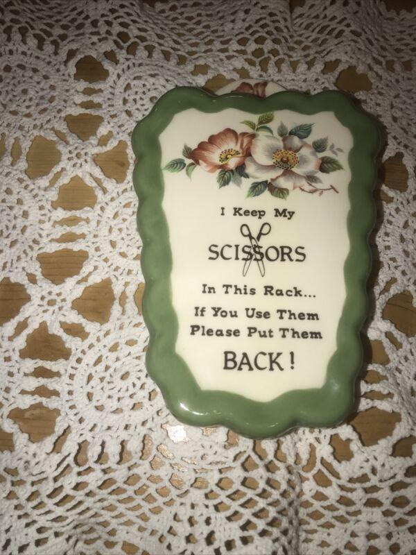 Vintage Ceramic Wall Pocket Hanging Scissors Holder