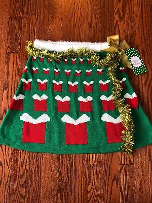 NWT Womens CUTE Ugly Christmas Sweater Skirt size MEDIUM green red gold - Womens Christmas Skirt